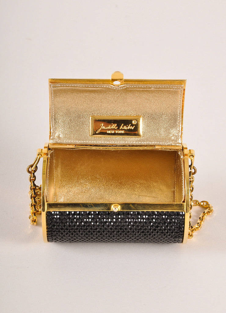 Judith Leiber Black and Gold Toned Crystal Rhinestone Mini Barrel Minaudiere Bag Interior