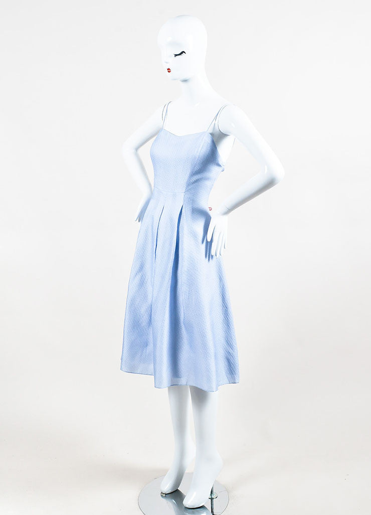 Periwinkle Blue Kay Unger Silk Textured Pleated A Line Dress Side