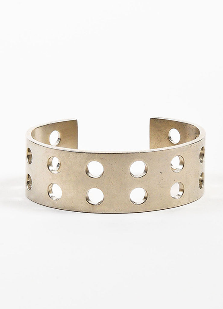 Silver Toned Kelly Wearstler Double Row Perforations Cuff Frontview