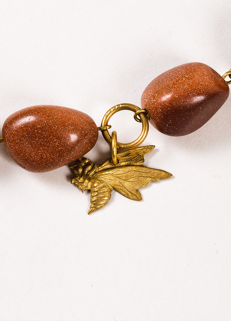 Lot of 2 Susanna Galanis Vintage Brass Brown Glitter Stone Charm Necklaces Detail 2