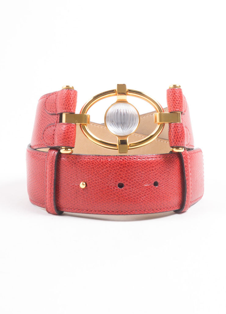 Lalique Red Grain Leather Gold Toned Embellished Belt  Frontview