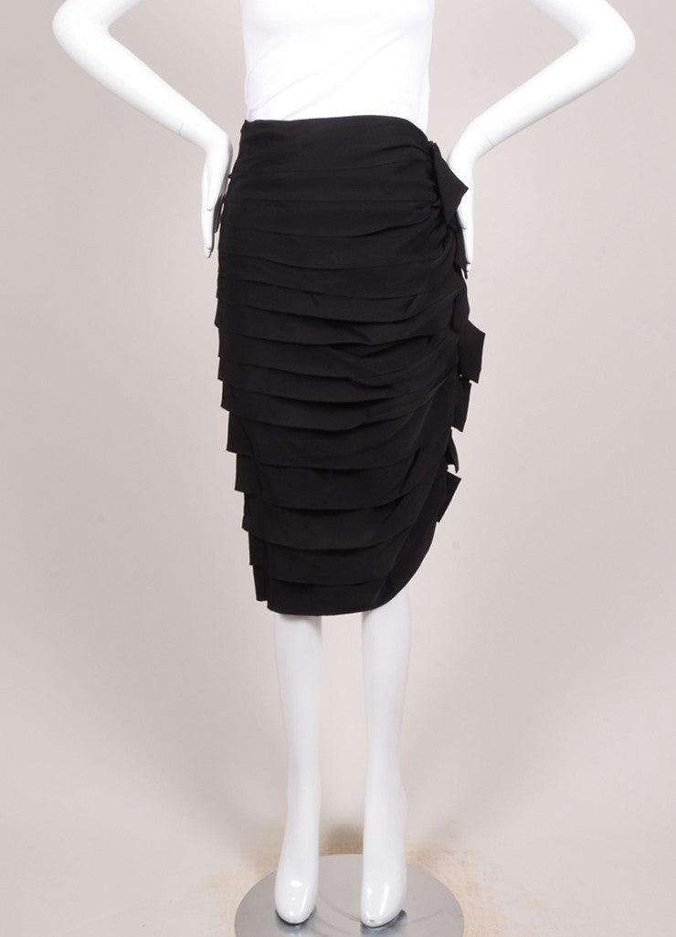 Lanvin New With Tags Black Tiered Ruffle Skirt Frontview