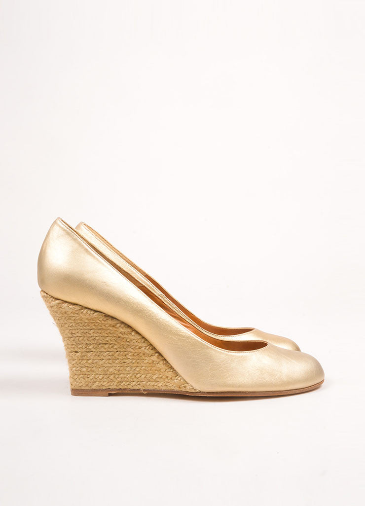 Lanvin Gold Leather Espadrille Wedges Sideview
