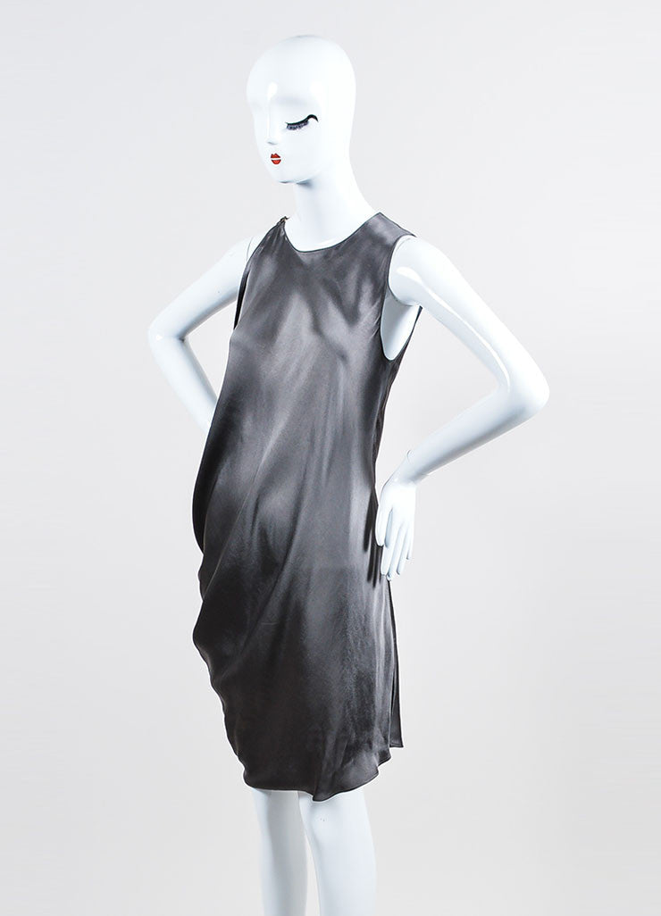 Lanvin Smoky Grey Asymmetrical Bat Wing Sleeveless Dress Sideview