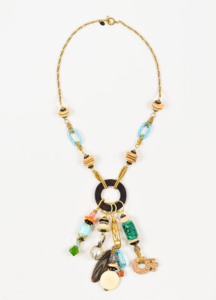 Gold Toned and Multicolor Lawrence Vrba Wood Beaded Bohemian Tassel Pendant Necklace Frontview