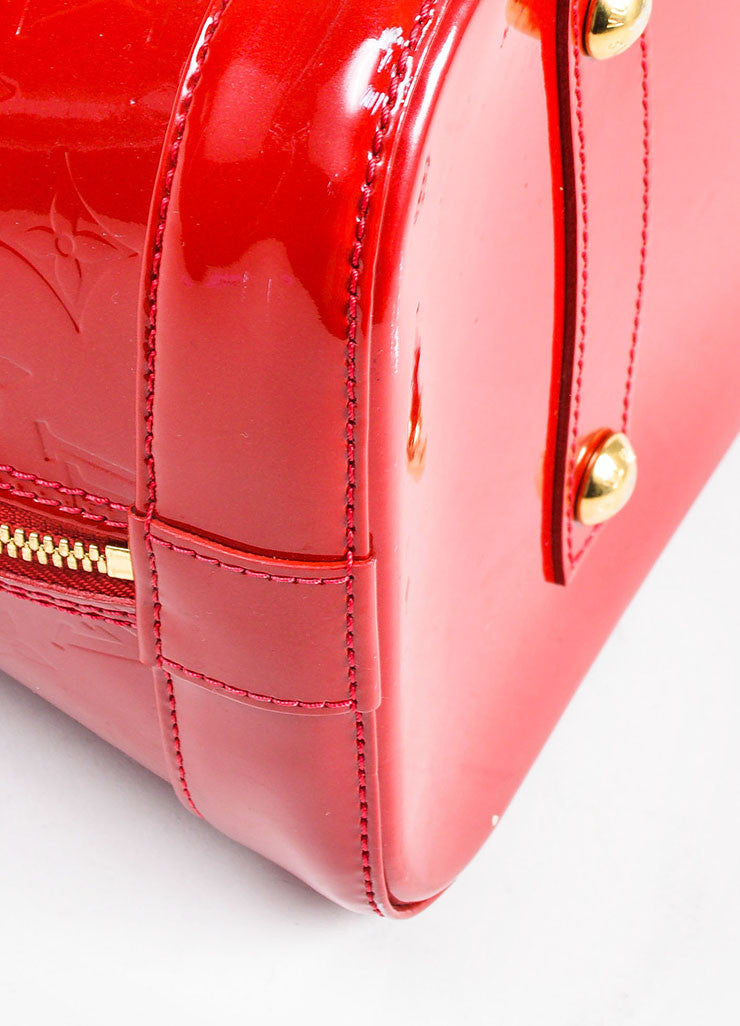 "Louis Vuitton ""Pomme"" Red ""Vernis"" Leather Monogram ""Alma GM"" Satchel Bag Detail"