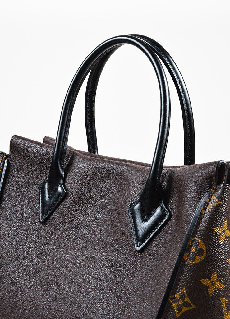 "Brown Louis Vuitton Coated Canvas Leather Monogram ""Tote W PM"" Handbag Detail 3"