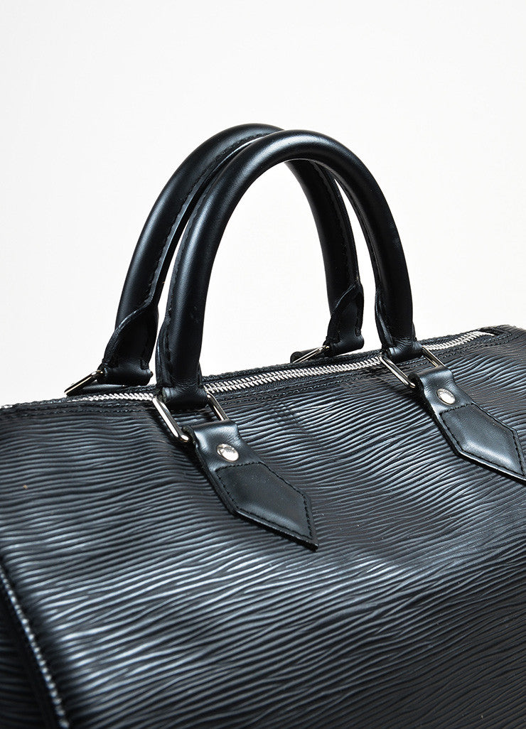 "Louis Vuitton Black Epi Leather ""Speedy 35"" Duffel Bag Detail 2"