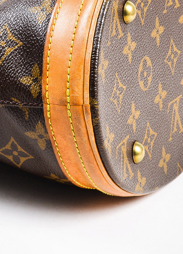 "Louis Vuitton Brown and Tan Coated Canvas and Leather ""Petite Bucket"" Shoulder Bag Detail"