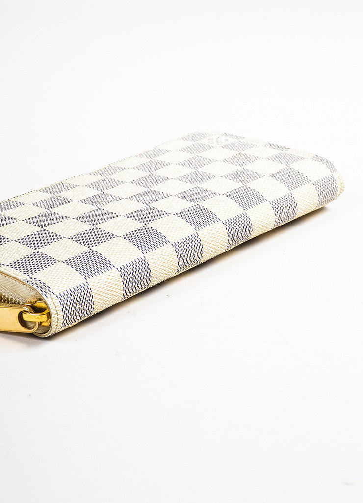 "Louis Vuitton Cream and Navy ""Damier Azur"" Printed Coated Canvas ""Zippy"" Wallet Bottom View"
