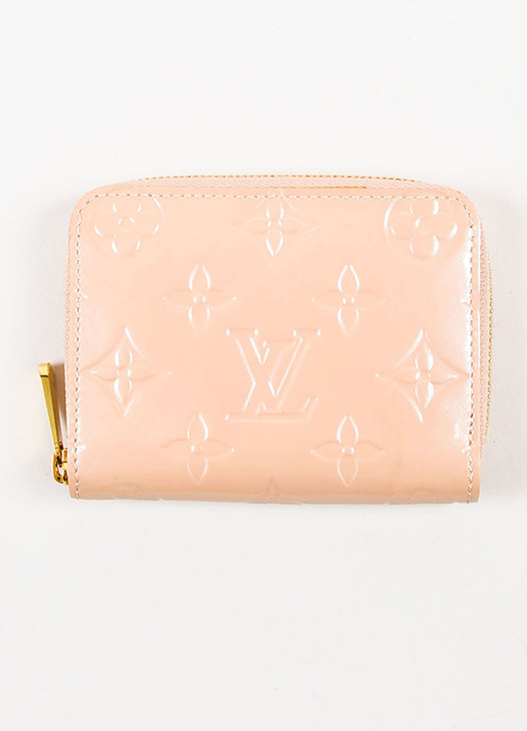 "Louis Vuitton Nude Patent Leather Embossed Monogram ""Zippy"" Coin Purse Frontview"