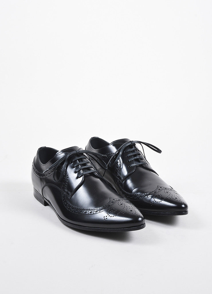 Mens Black Dolce & Gabbana Leather Lace Up Oxford Shoes Front