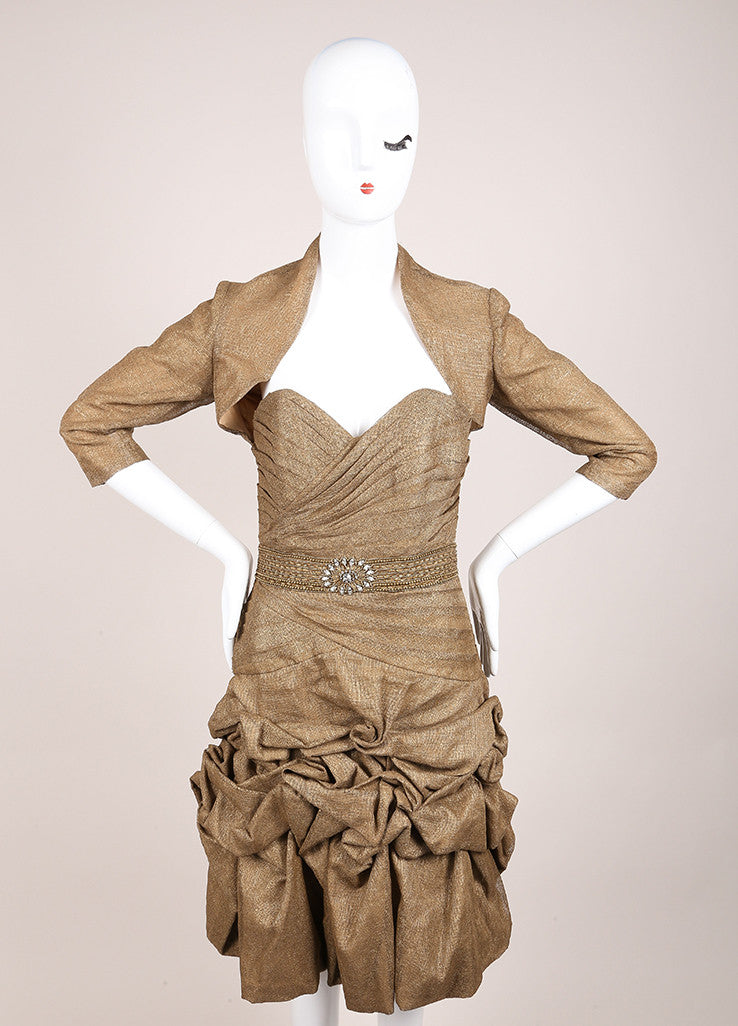 Monique Lhuillier Brown and Bronze Linen Ruched Strapless Dress and Crop Jacket Set Frontview