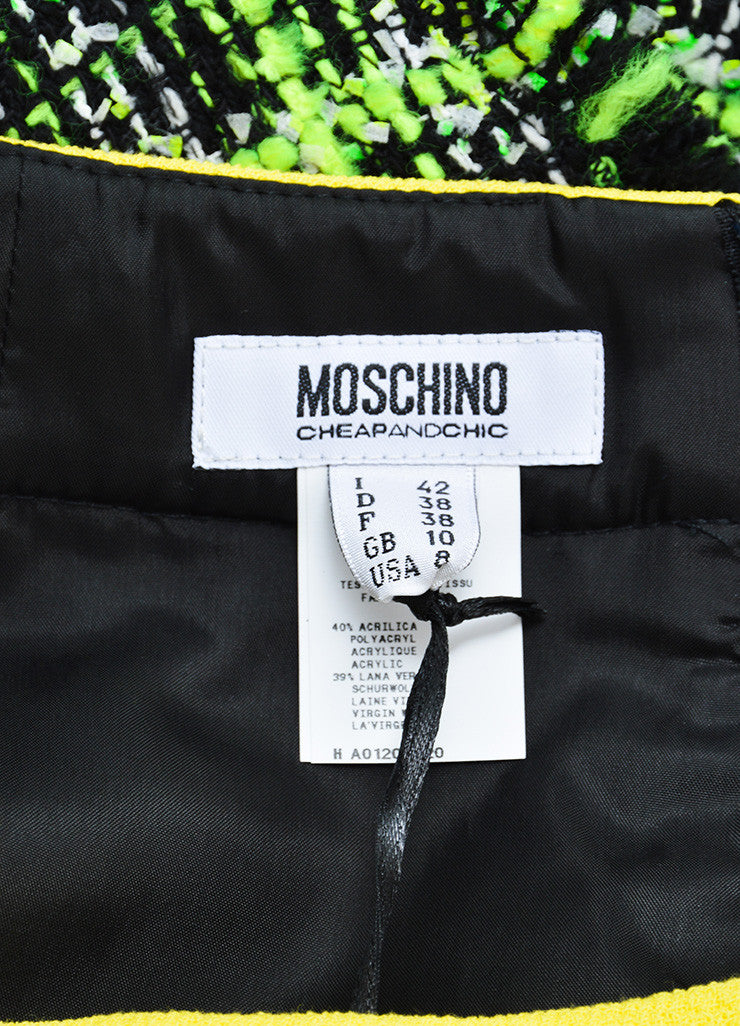 Neon Yellow, Green and Black Moschino Cheap and Chic Tweed Skirt Brand