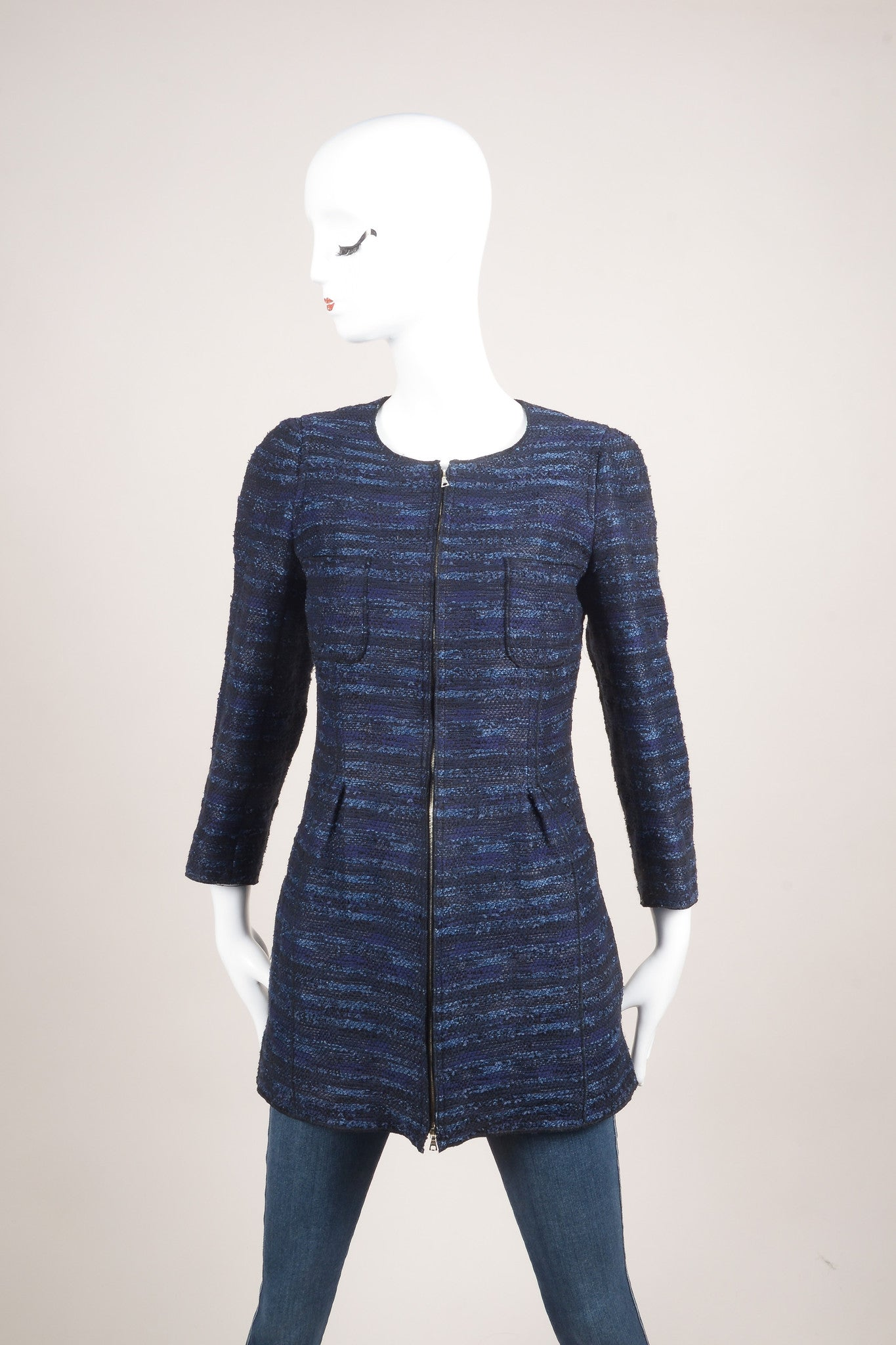 Nina Ricci Navy Blue and Black Woven Tweed Knit Long Sleeve Jacket Frontview