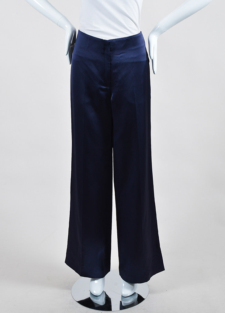 Navy Blue Nina Ricci Silk High Waist Wide Leg Trousers Frontview