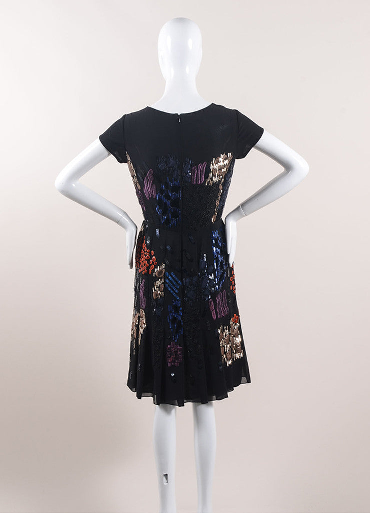 Oscar de la Renta Black and Multicolor Silk Embellished Cocktail Dress Backview