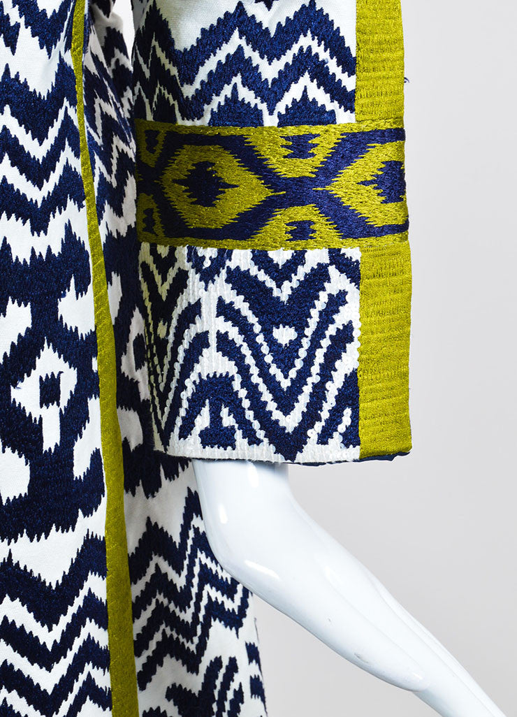 White, Navy, and Green Oscar de la Renta Jacquard Weave Sequin Coat Detail