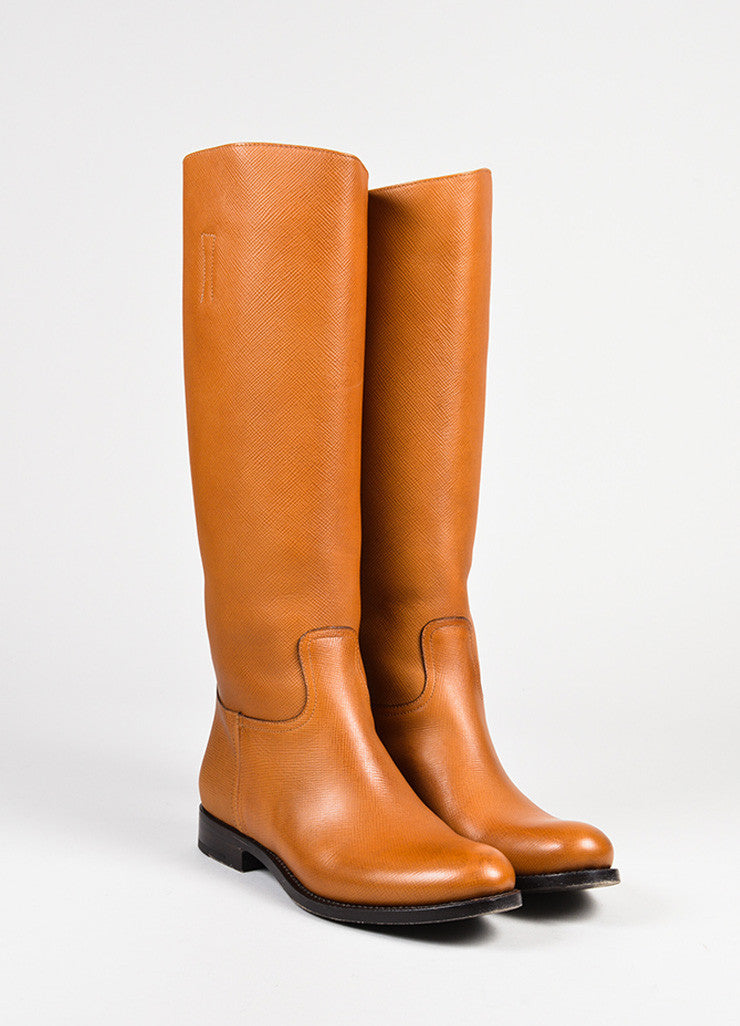 "Prada ""Caramel"" Brown Saffiano Leather Calf High Riding Boots Frontview"