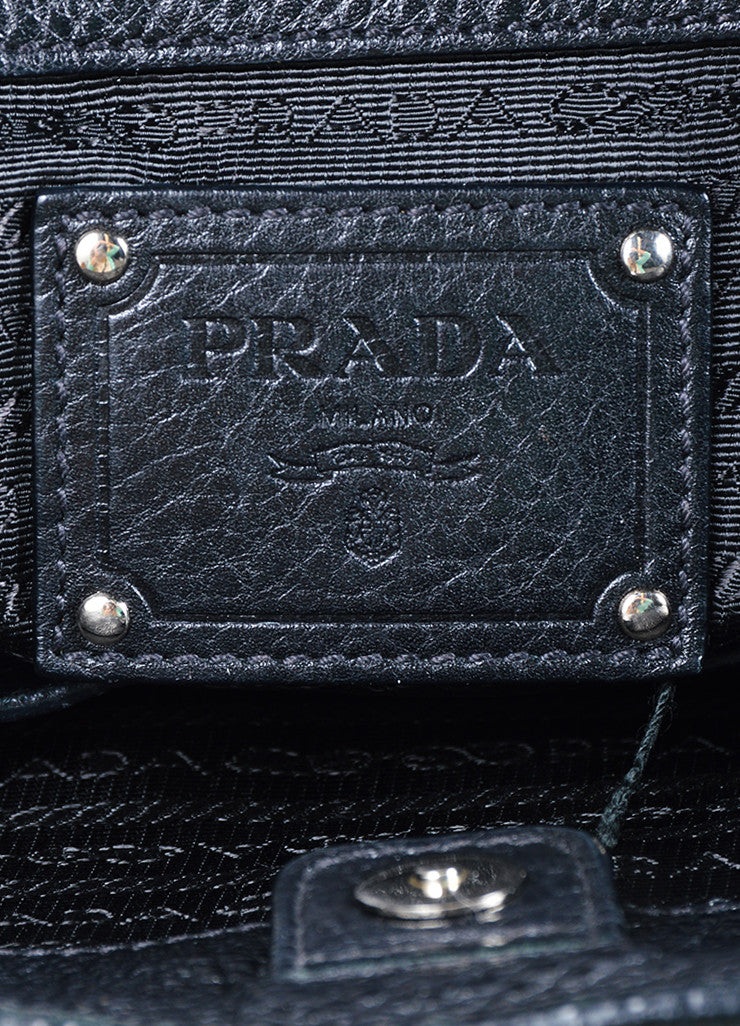 Prada Black Pebbled Leather Shopping Tote Bag Brand