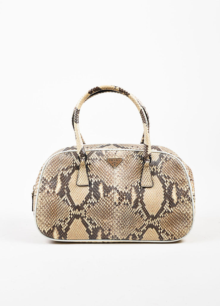 Prada Cream and Grey Python Leather Mini Bowler Satchel Bag Frontview