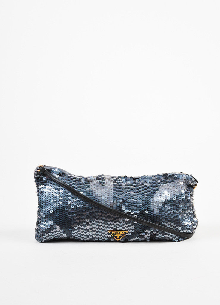 Prada Grey Satin Sequin Embellished Evening Shoulder Bag Frontview