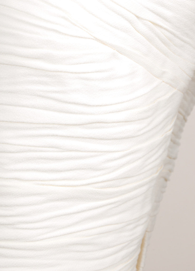 Proenza Schouler Cream Textured Crepe Sleeveless Flared Dress Detail