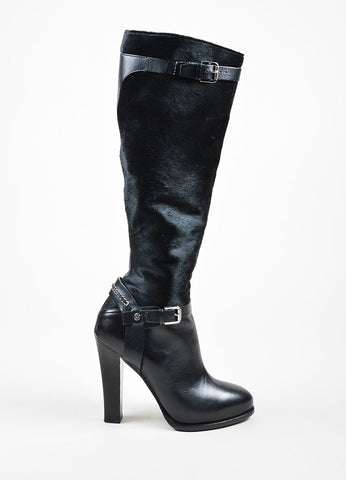 Ralph Lauren Collection Black Pony Hair Leather Heeled Knee High Boots Sideview