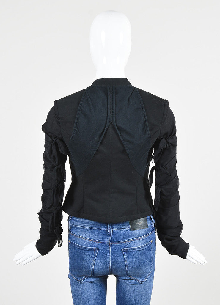 Rick Owens Black Silk Blend Multi Tie Detail Structured Jacket Backview