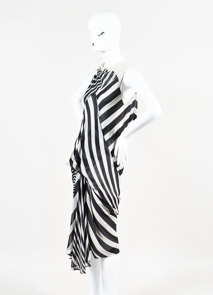 "Rick Owens ""Creatch"" Black and White Mesh Chiffon Multi Striped Draped Dress Sideview"