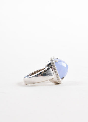Rina Limor 18K White Gold and Blue Chalcedony Crystal Diamond Cocktail Ring Sideview