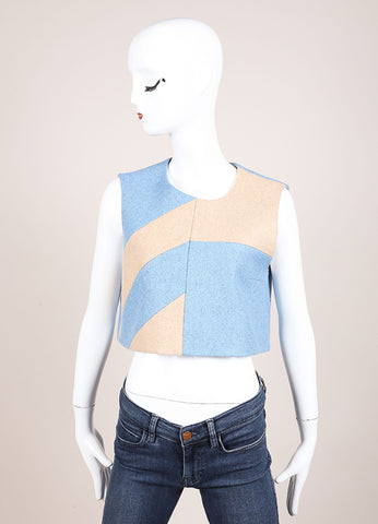 Roksanda New With Tags Light Blue and Beige Sleeveless Wool Crop Top Frontview