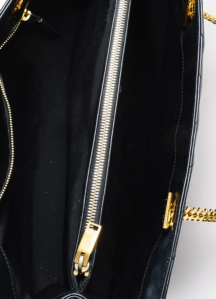 "Saint Laurent Black Matelasse Quilted Leather ""Classic Monogram"" Shopping Bag Interior"