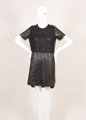 Salvatore Ferragamo Black Leather Netted Panel Short Sleeve Dress Frontview