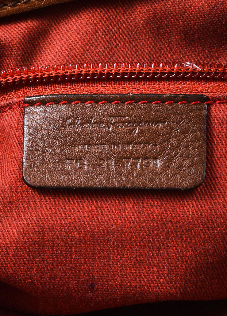 "Salvatore Ferragamo Brown Pebbled Leather Quilted Stitch ""Celtico"" Shoulder Bag Brand"