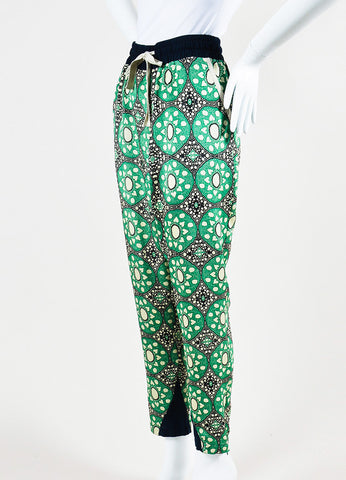 Sea Green, Navy, and Beige Silk Drawstring Kaleidoscope Pants Sideview