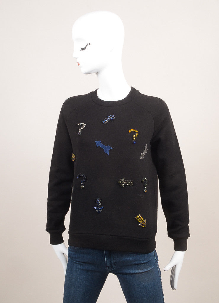 Stella McCartney New With Tags Black Beaded Arrow Pull Over Sweatshirt Frontview