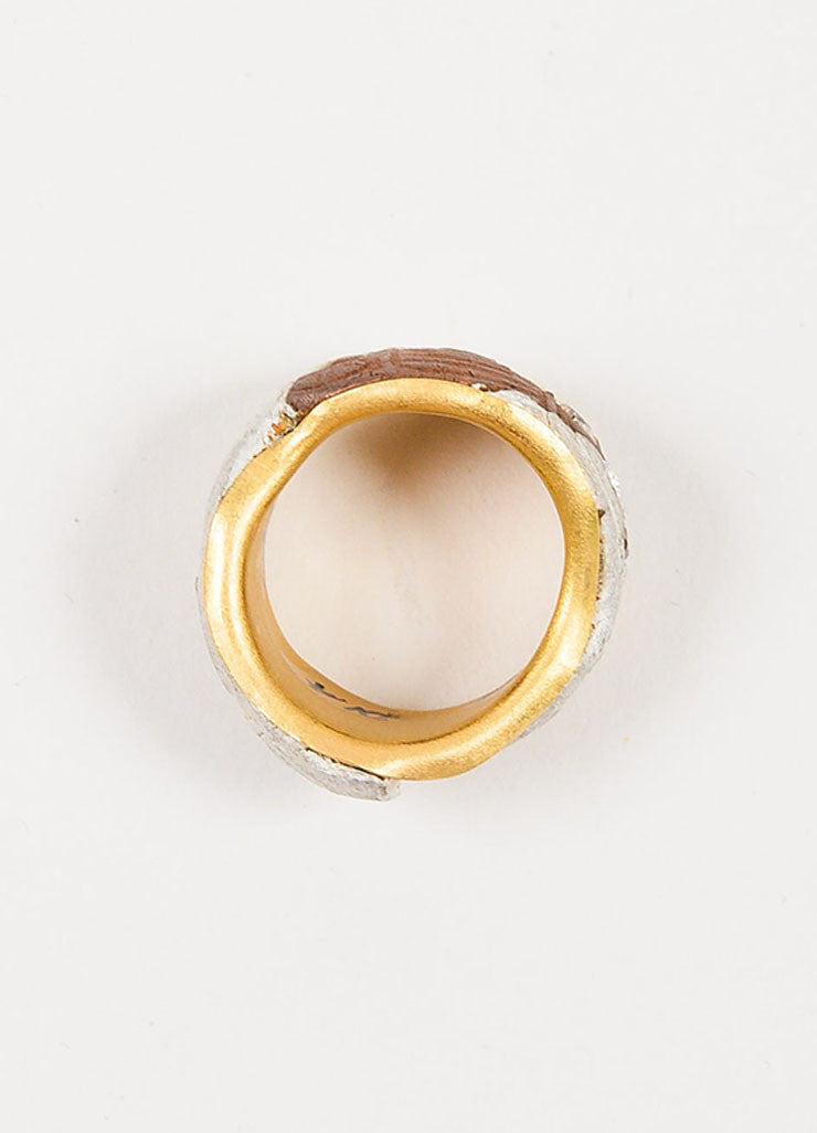 22K Yellow Gold Susanne Dunne Mokume-Gane Diamond Wide Ring Topview