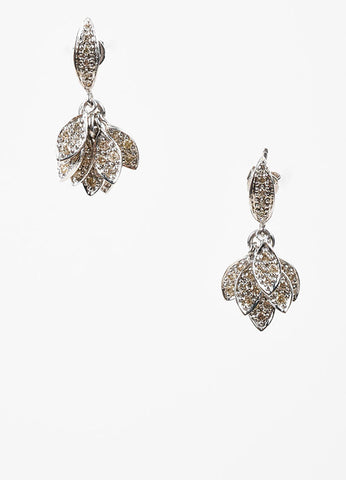 Sydney Evan 14K White Gold and Pave Diamond Cluster Small Leaf Drop Earrings Frontview