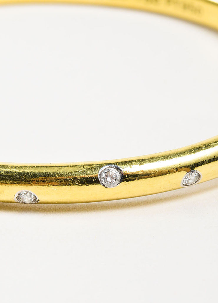 "Tiffany & Co.18K Yellow Gold, Platinum, and Diamond ""Etoile"" Bangle Bracelet Detail"