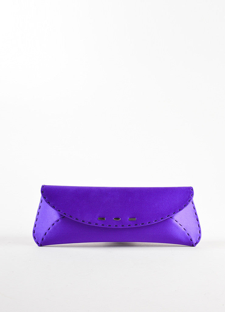 "VBH Purple Satin Stitch Detail ""Martini"" Clutch Bag Front"