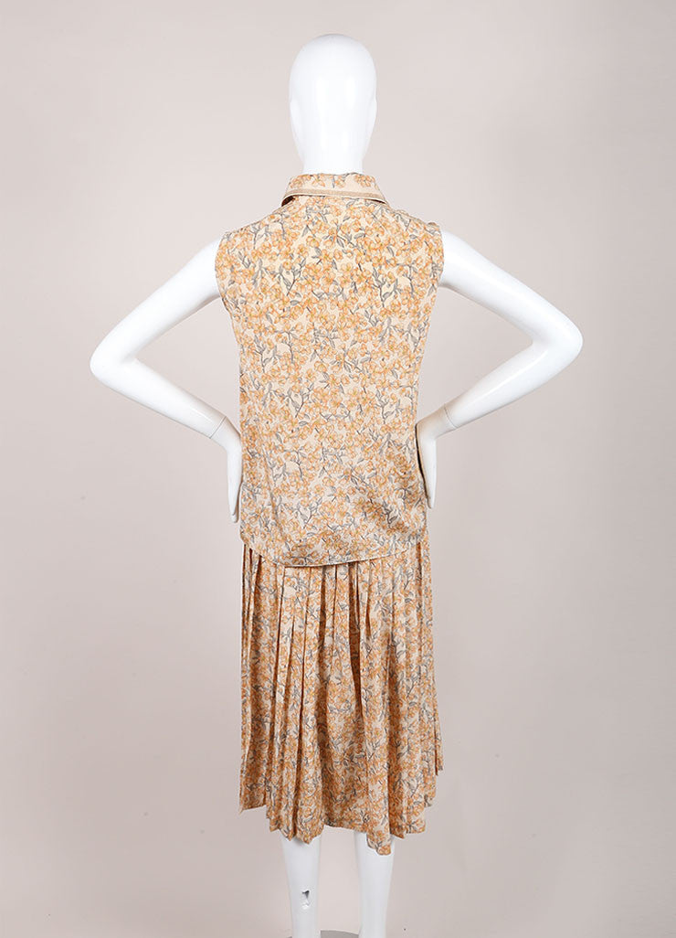 Chanel Peach Floral Print Pleated Skirt And Sleeveless Blouse Set Backview