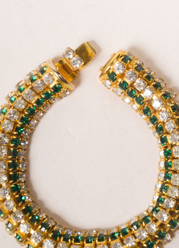 DeLillo Gold Toned and Green Rhinestone Bracelet Detail