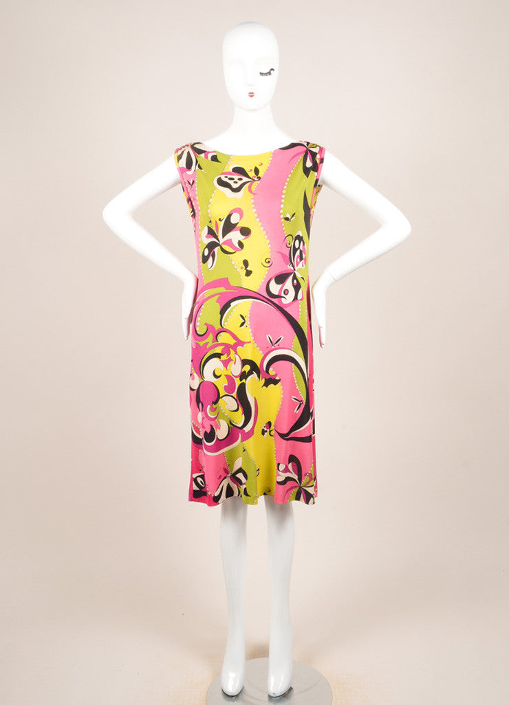 Emilio Pucci Multicolor Knit Graphic Print Sleeveless Dress Frontview