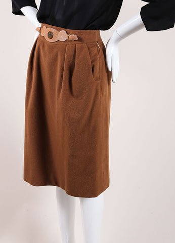 Hermes Brown Cashmere Leather Belted Pencil Skirt Sideview