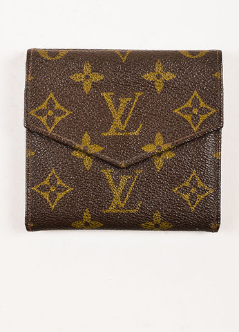 Louis Vuitton Brown Coated Canvas Monogram Snap Billfold Wallet Backview