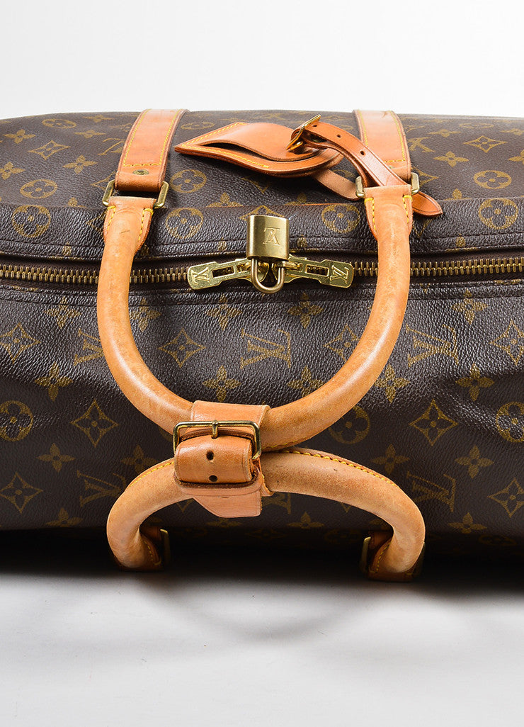 "Louis Vuitton Brown and Tan Canvas and Leather Monogram ""Sirius 60"" Suitcase Detail 2"