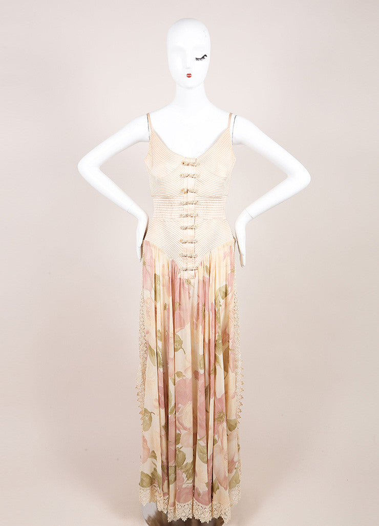Valentino Pink Silk Lace Trim Floral Print Sheer Full Length Dress Frontview