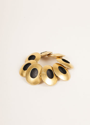 Vaubel Gold Toned and Black Oval Bracelet Frontview