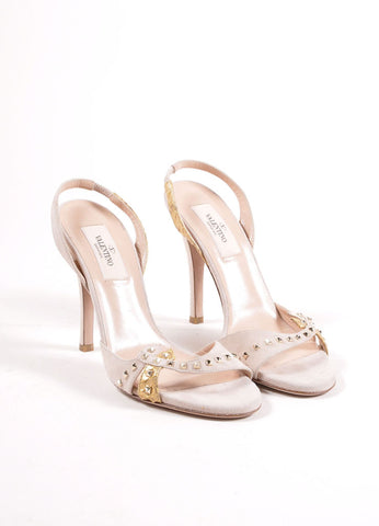 Valentino Nude and Gold Toned Snakeskin Studded Slingback Sandals Frontview